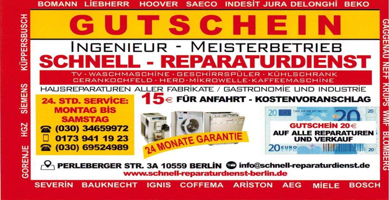 Sofort-Reparaturdienst-Berlin Gutschein Telefon: 030 / 695 249 89